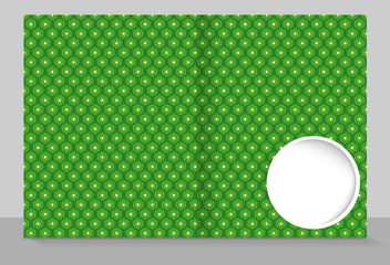 Template cover of a copybook with an trendy design: green hexagon pattern.