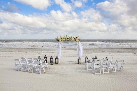 Wedding venue set up for small beach wedding