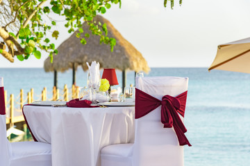 festive table in the gazebo at sunset caribbean dominican