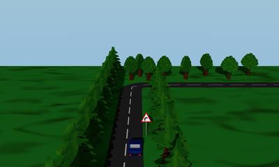 Ansicht der Straßensituation Kurve Rechts  mit  deutschem Verkehrsschild und blauen Auto.