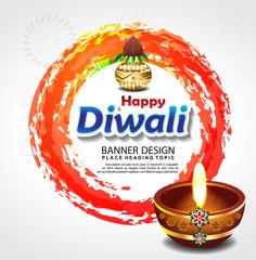 Happy Diwali Celebration Banner Design template