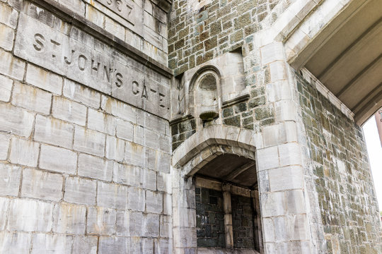 Saint John's Gate Fortress entrance to old town street sign closeup