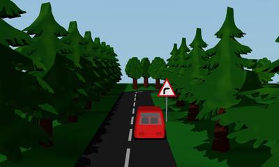 Darstellung der Straßensituation Kurve Rechts  mit  deutschem Verkehrsschild und roten Auto.