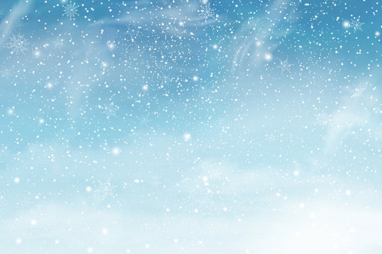 Winter christmas sky with falling snow. Snowflakes, snowfall. Vector illustration.