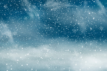 Fotomurales - Winter landscape with Falling Christmas snow. Snowflakes, snowfall. Vector illustration.
