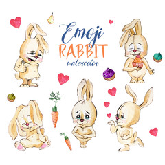 Set of watercolor Emoji rabbit, isolated on a white isolated background