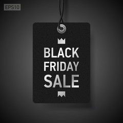 Black Friday Sale, clothing tag, dark background, vector design object for you business projects