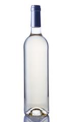 Bottle of transparent white wine isolated on white background