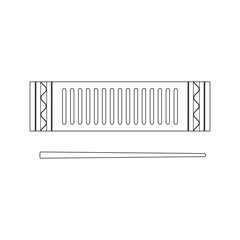 Isolated black outline decorative ornate reco-reco on white background. Line brazilian musical instrument for bateria of capoeira.