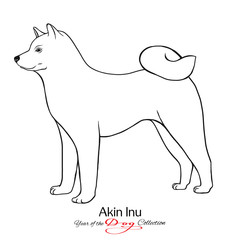 Akin Inu. Black and white graphic drawing of a dog.