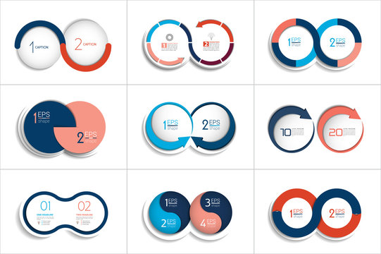 Mega set of two elements, steps chart, diagram, scheme. Circle, round design.