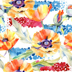 Wildflower poppy flower pattern in a watercolor style. Full name of the plant: poppy . Aquarelle wild flower for background, texture, wrapper pattern, frame or border.