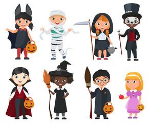 Cute Halloween kids set. Cartoon vector illustration