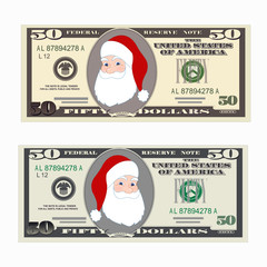 USA banking currency, cash symbol 50 dollars bill with Santa Claus.
