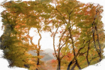 Impressionism Style Oil Painting; Fall Color Leaves at Yoro Waterfall in Gifu, Japan, November, 2016