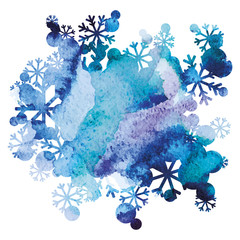 Snow bouquet, handmade painted background, purple and blue watercolor image, abstract vector design art