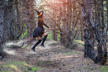 Levitation, a witch in a hat flies on a broom, free space.