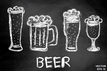 Mugs of beer on a chalkboard. Drawing. Hatch. Dark. For your design.