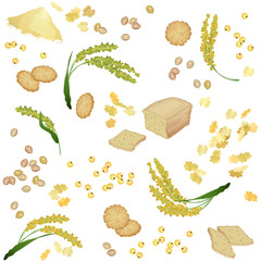 Seamless pattern with millet foodstuff / There are millet ears, bread, flour, grains, flakes and cookies