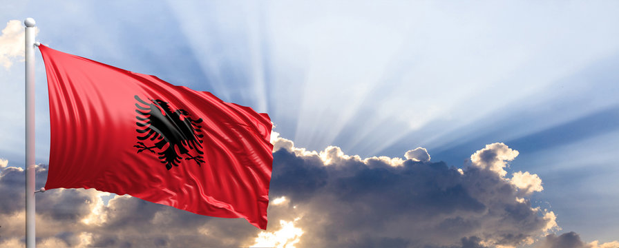 Albania flag on blue sky. 3d illustration