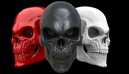 Red, white and black angry skulls