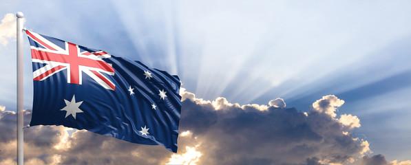 Australia flag on blue sky. 3d illustration