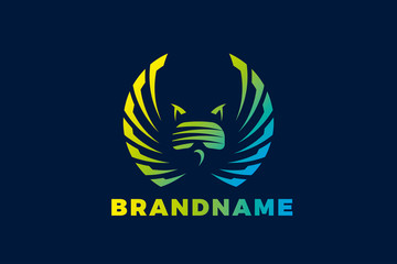 Owl with glasses virtual reality emblem design template. Emblem template editable for your business.