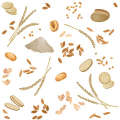 Seamless pattern with spelt foodstuff / There are spelt flour, ears, grains, flakes, buns, bread, grits, pasta and waffles