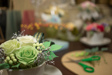 How to Make Preservrd Flower and Clay Flower Arrangement, Making with Colorful Roses