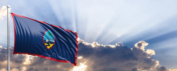 Guam flag on blue sky. 3d illustration