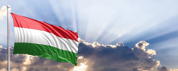 Hungary flag on blue sky. 3d illustration