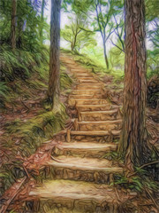 Colored Pencil Drawing; Trail at the World Heritage Forest Kumano Kodo, Wakayama Prefecture, Japan, May, 2012