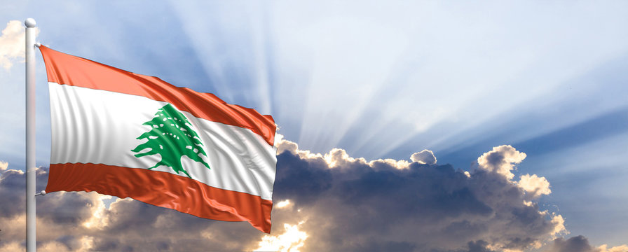 Lebanon flag on blue sky. 3d illustration