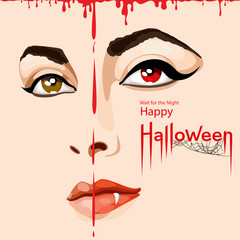 Happy Halloween card. Pretty woman's face covered with blood with scary vampire fangs. Happy Halloween lettering with spider web. Vector Illustration