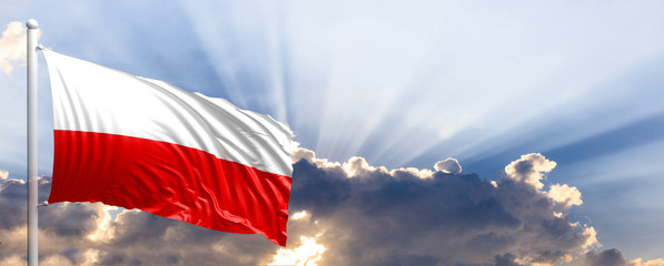 Poland flag on blue sky. 3d illustration