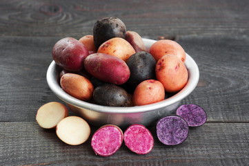Fresh colorful potatoes in the metal bowl