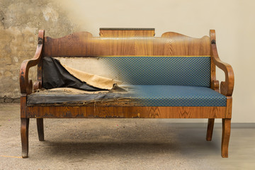 Antique Biedermeier style sofa before and after restoration, in a single photo