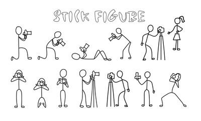 Set stick figure photographer. Simple professional cameraman black pictogram