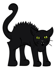 Black Cat with an arched back hissing.