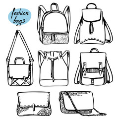 set of fashion bags and backpacks