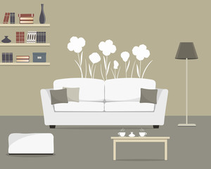 Gray living room with a white sofa. There are also shelves, lamp, table and big flowers on the wall in the picture. Vector flat illustration.