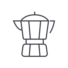 coffee maker vector line icon, sign, illustration on white background, editable strokes
