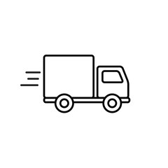 Fast shipping delivery truck outline icon in flat style. Vector line symbol