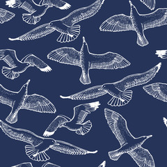 Dark Seagull Seamless Pattern. Graphic Hand Drawn Flying Seagulls. Vector Background with Flying Birds