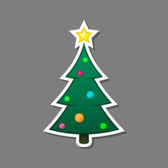 Christmas tree Sticker, vector isolated xmas decoration element