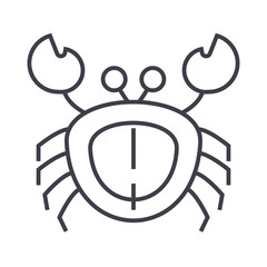 crab vector line icon, sign, illustration on white background, editable strokes