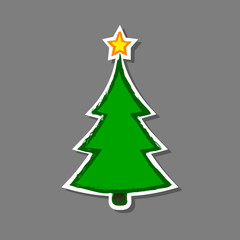 Christmas tree Sticker, vector isolated grunge illustation