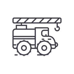 Crane arm car vector line icon, sign, illustration on white background, editable strokes