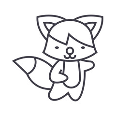 cute fox vector line icon, sign, illustration on white background, editable strokes