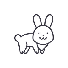 cute rabbit  vector line icon, sign, illustration on white background, editable strokes